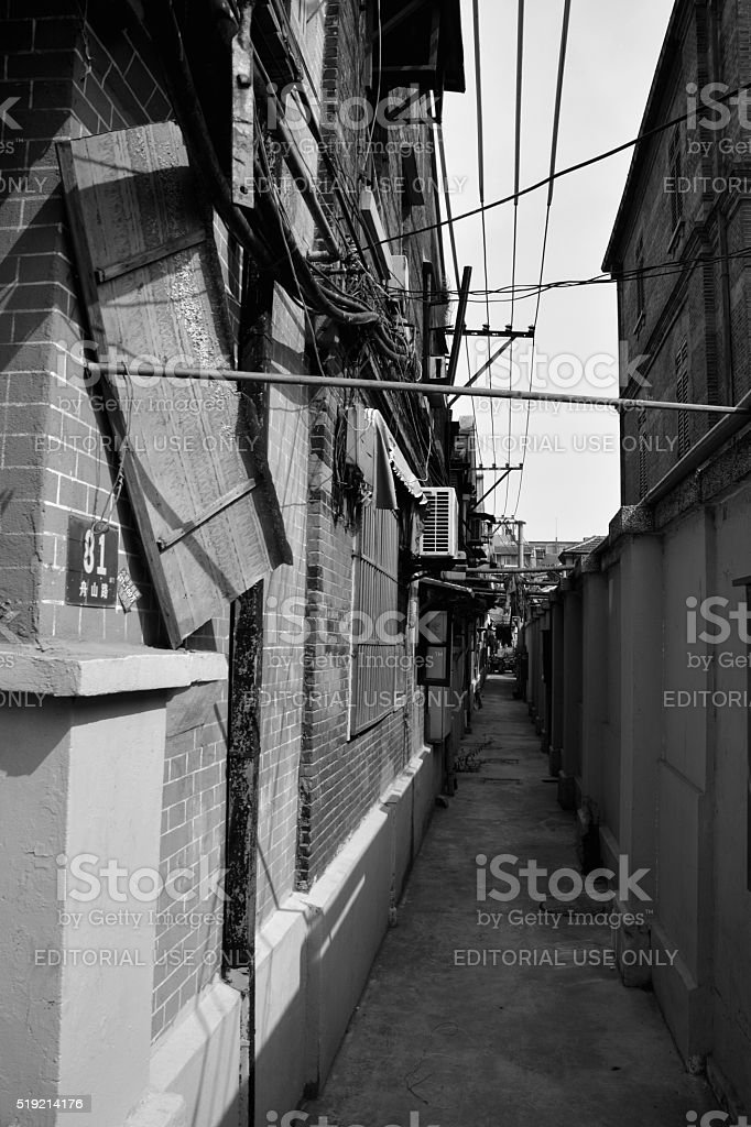 Narrow alley in Shanghai jewish quarter, China stock photo