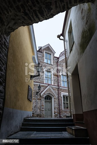 Early morning view of a narrow street in Tallinn's old town, Estonia.