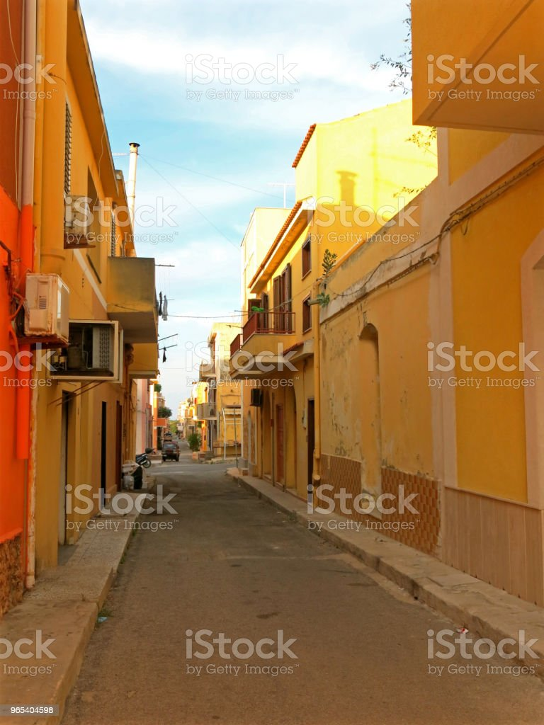 Narrow alley of a typical southern Italian town  without people zbiór zdjęć royalty-free