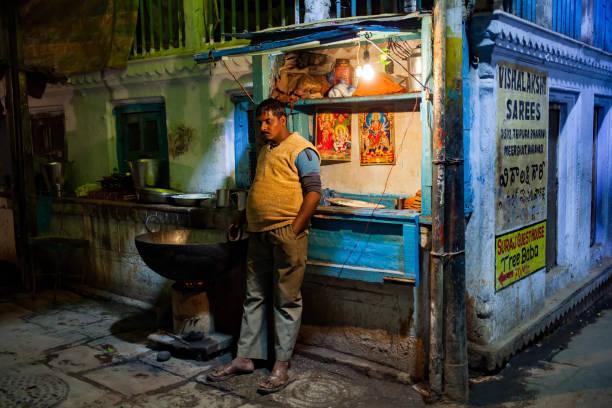A narrow alley of old Varanasi's town stock photo