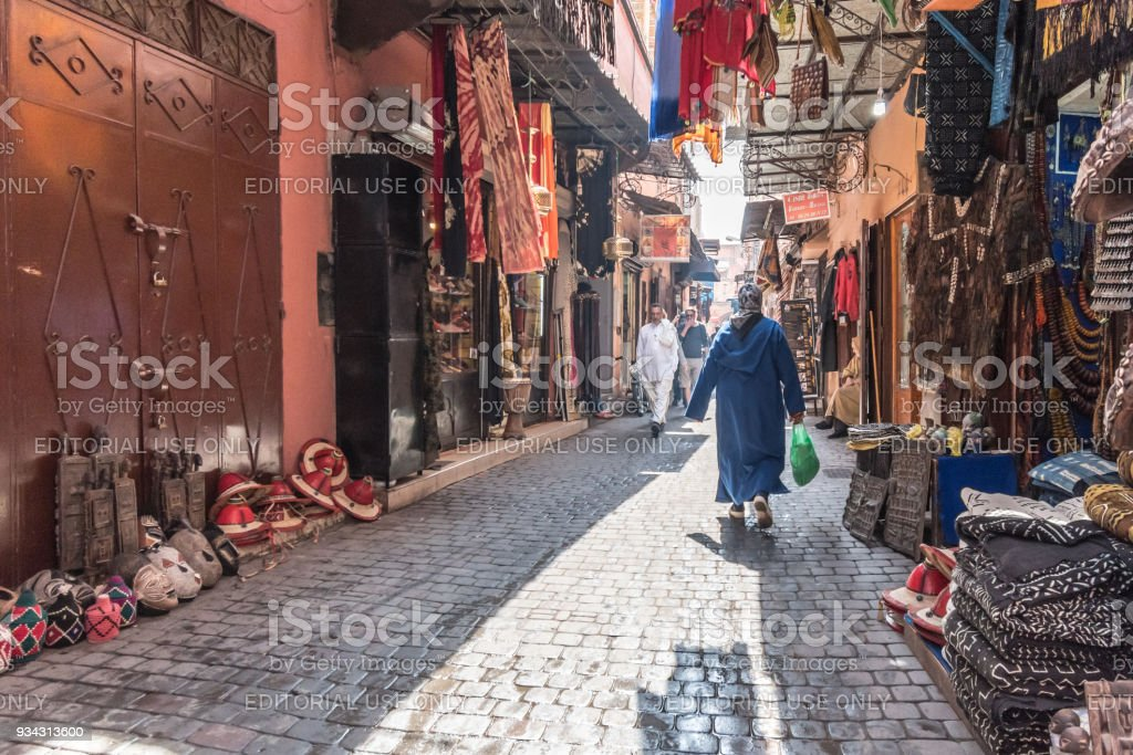 Narrow alleys of the souks in the Medina of Marrakesh stock photo