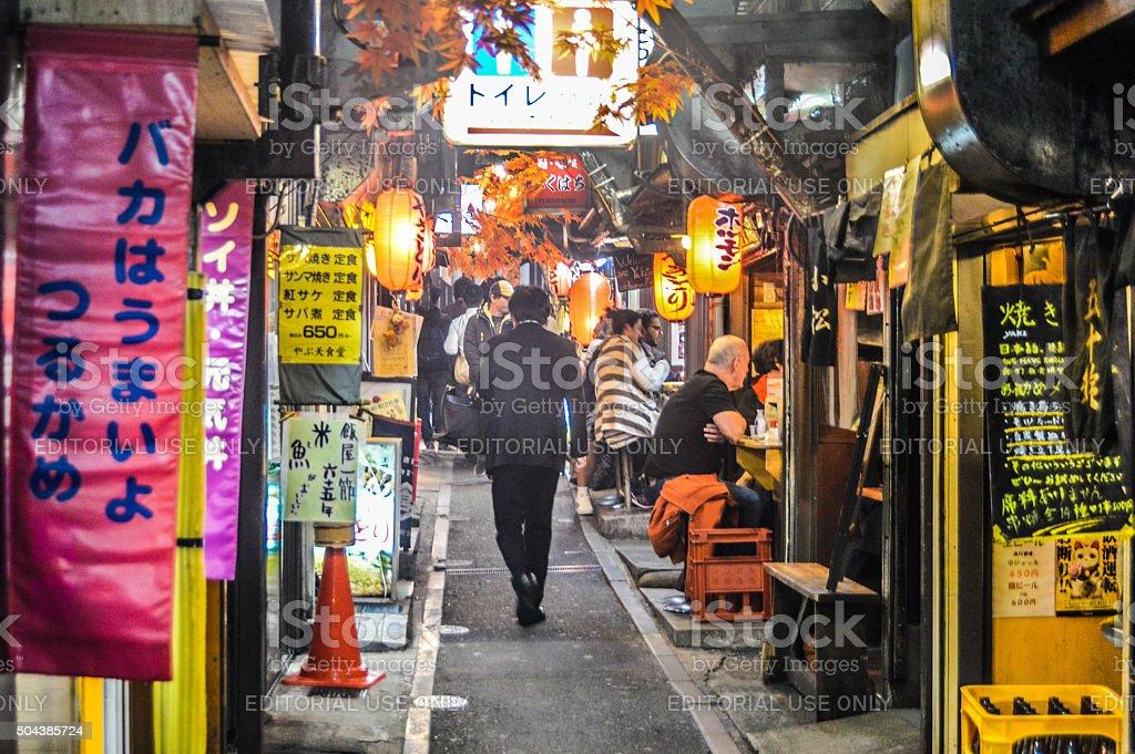 Narrow backstreet alley in Shinjuku, Japan stock photo