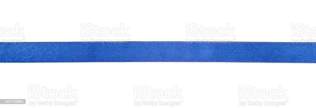 narrow blue satin ribbon isolated on white stock photo