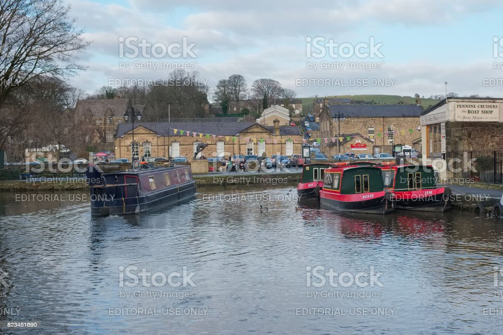 Narrow boats moored in the quaint town of Skipton, Saturday 27 December 2014, Skipton, England. stock photo