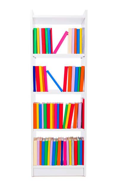 Narrow book shelf stock photo