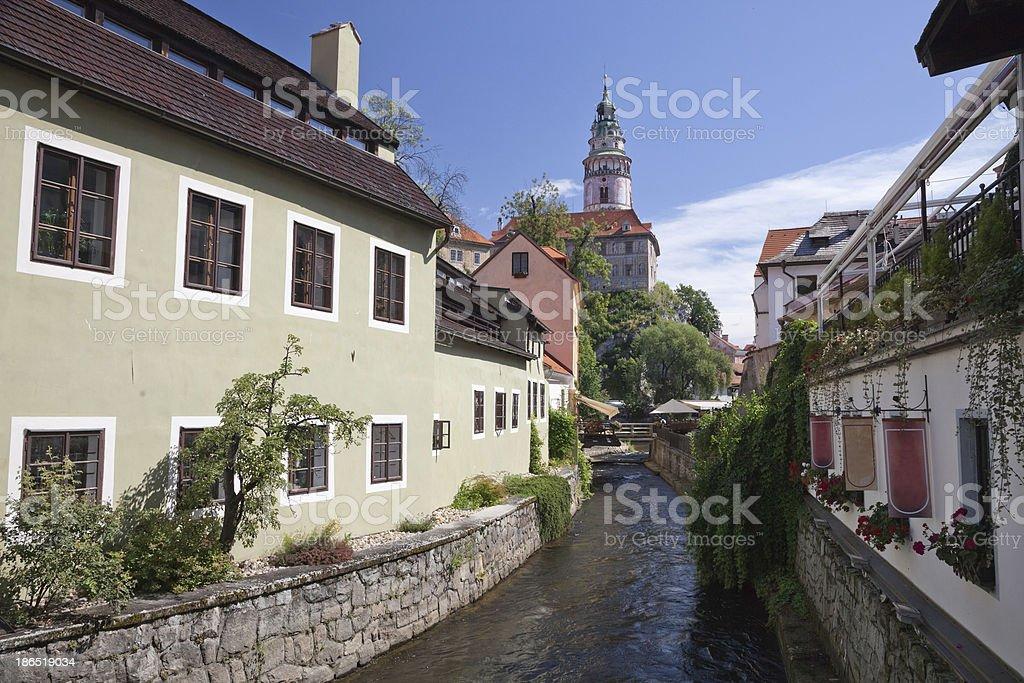 Narrow canal at Cesky Krumlov royalty-free stock photo