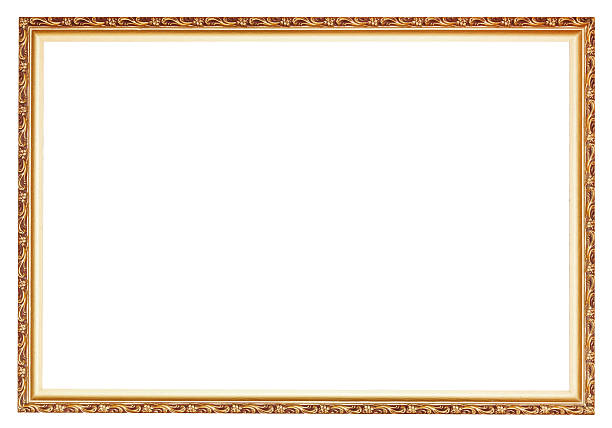 narrow carved ancient gold wooden picture frame narrow carved ancient gold wooden picture frame with cut out canvas isolated on white background carving craft product stock pictures, royalty-free photos & images
