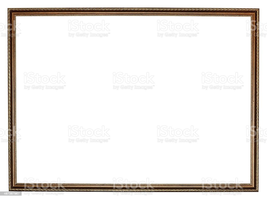 narrow carved retro wooden picture frame royalty-free stock photo