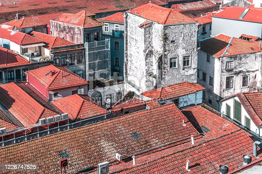 Narrow city streets between red tiled roofs of old houses, Vila Nova de Gaia, Porto, Portugal, Nov.2019