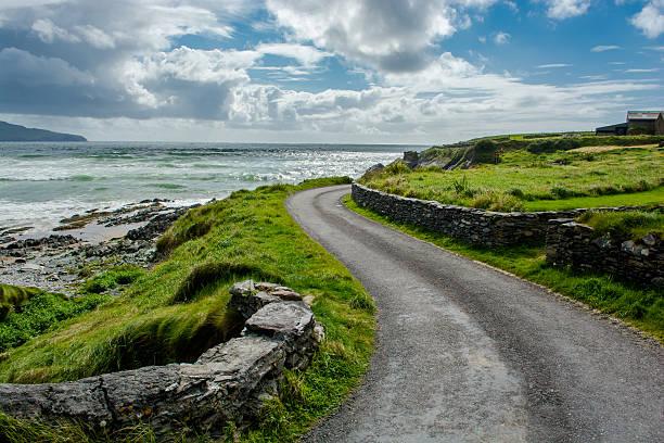 étroite route côtière en irlande - irlande photos et images de collection