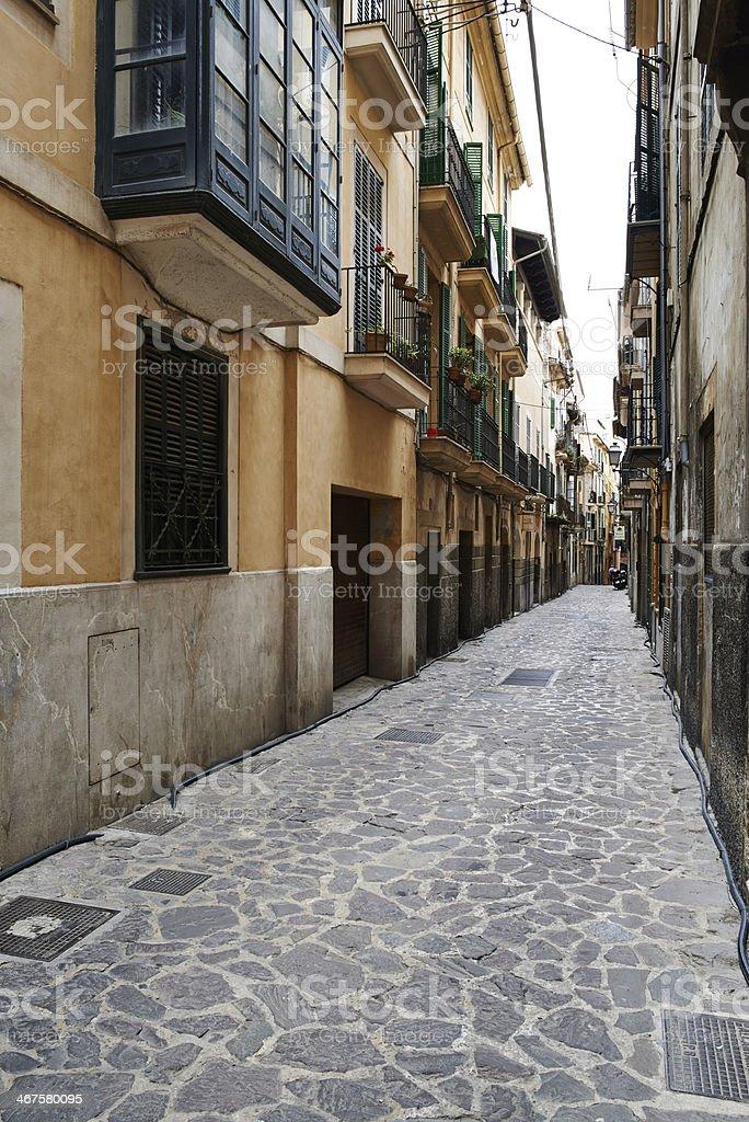 Narrow cobble street stock photo