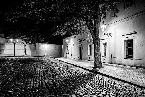 Narrow cobbled street in old medieval town with illuminated houses by vintage street lamps, Novy svet, Prague, Czech Republic. Night shot