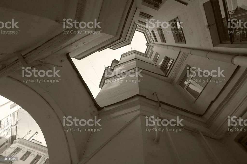 Narrow courtyard in St. Petersburg. B/w royalty-free stock photo