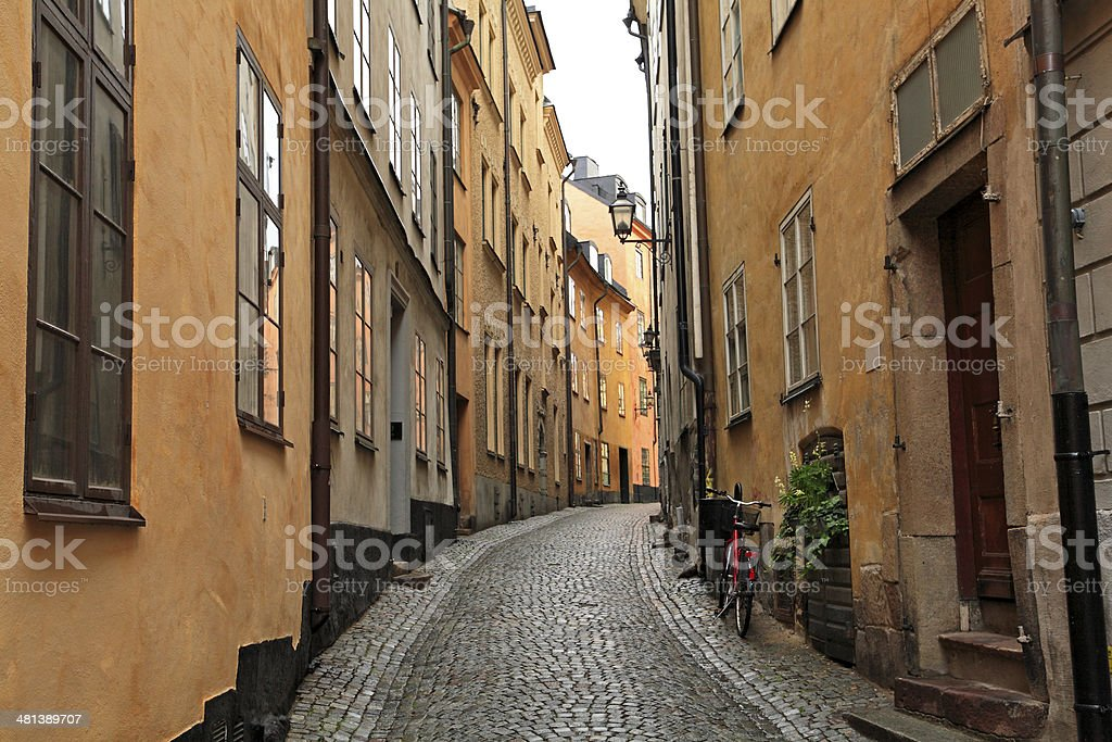 Narrow curving cobblestone street in Old Town stock photo
