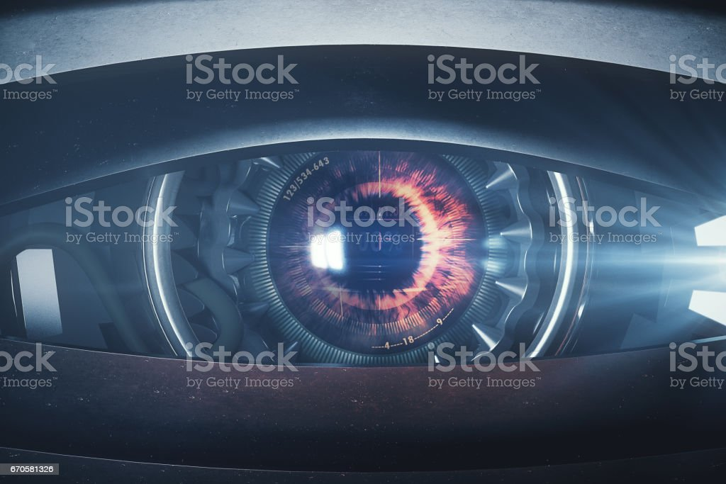 Narrow cyber eye stock photo