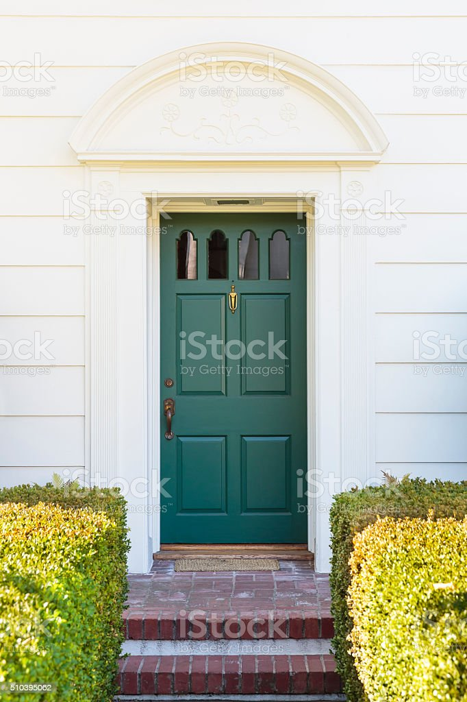 Narrow front door stock photo