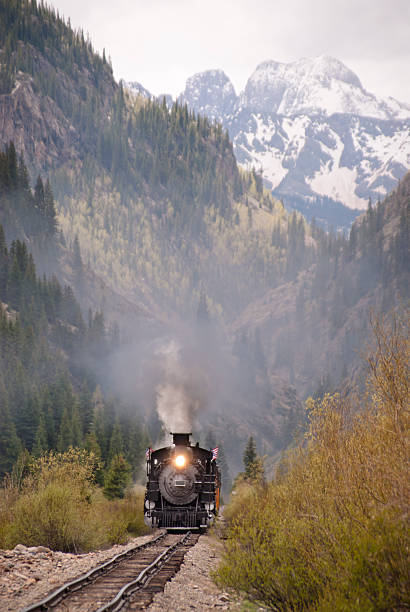 Narrow Gauge Train An antique train travels through the Colorado wilderness. san juan county colorado stock pictures, royalty-free photos & images