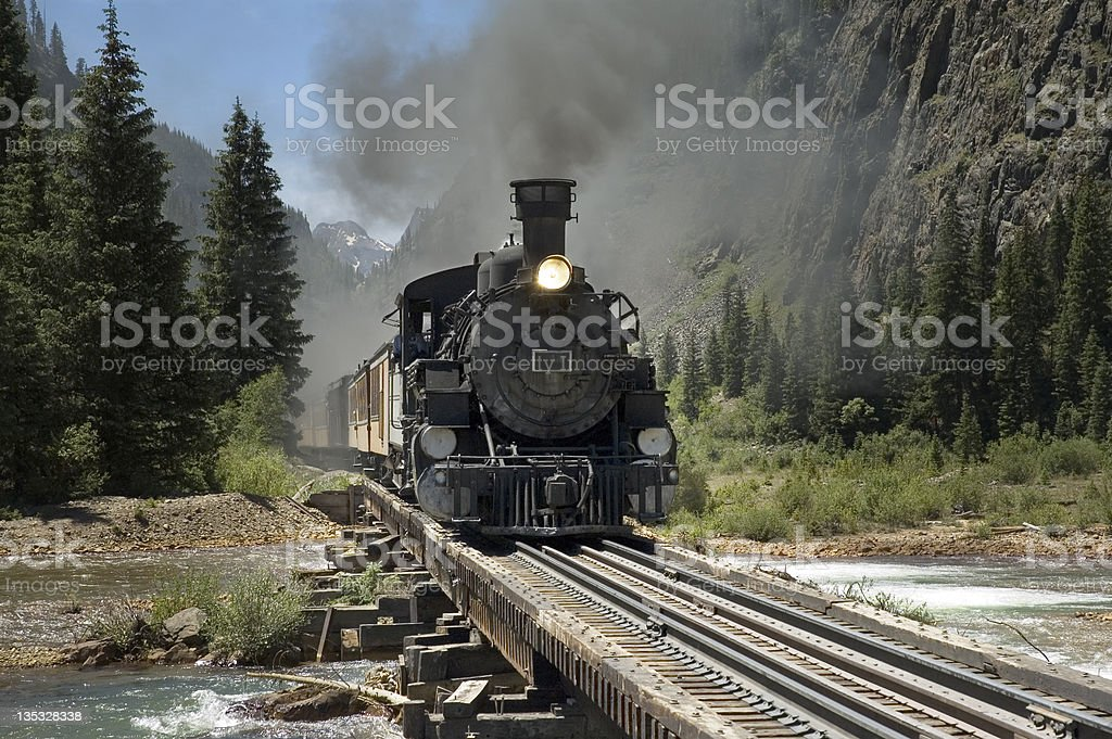Narrow Gauge Train River Crossing stock photo