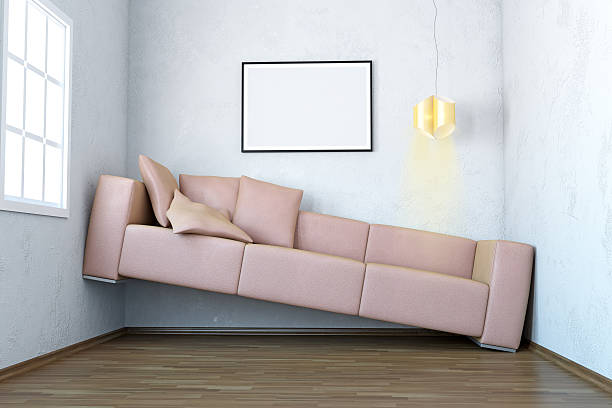 Narrow Living Room Interior Scene With Blank Frame Lack Of Space Trouble With Blank Frame In Living Room Interior. narrow stock pictures, royalty-free photos & images