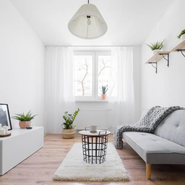 Narrow living room stock photo