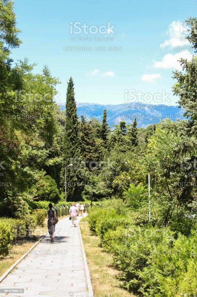 A narrow park path. royalty-free stock photo