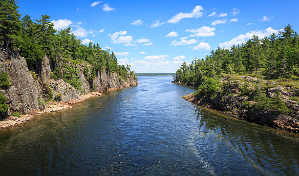 Narrow passage between two island at 30000 Islands, Canada stock photo