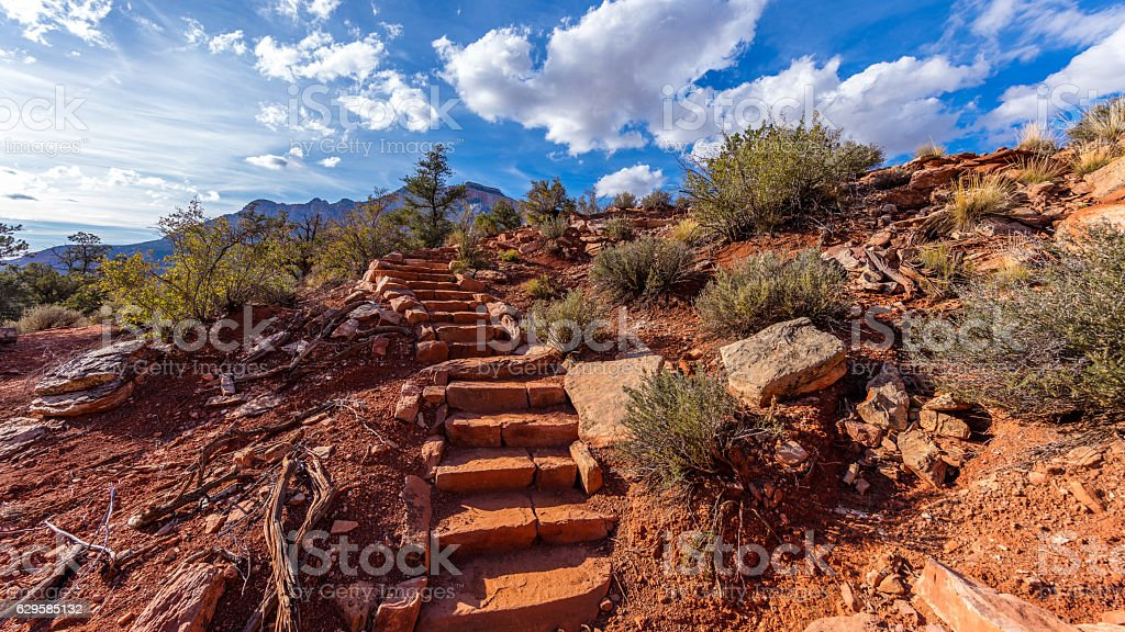 Narrow pathway through the canyon. stock photo