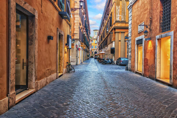 Narrow Rome street in the downtown, Italy, no people Narrow Rome street in the downtown, Italy, no people. narrow stock pictures, royalty-free photos & images