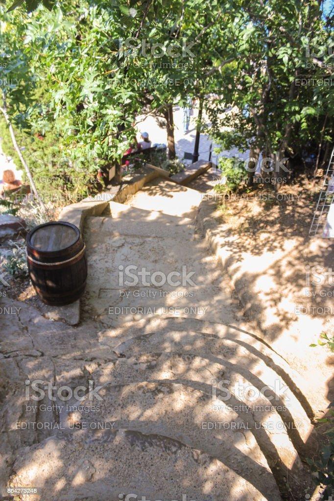 Narrow stone staircase. royalty-free stock photo