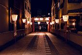 祇園地区の夜の狭い通り、夜の京都日本、シェフマンと一緒に歩く、ランプの列