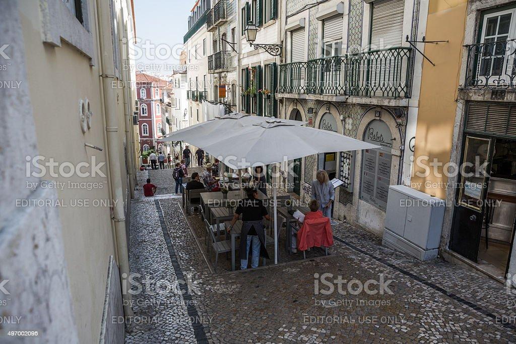 Narrow street, Bairro alto, Lisbon, Portugal stock photo