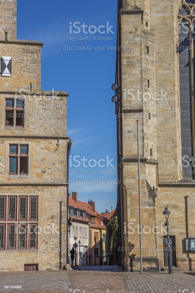 Narrow street between town hall and Marien church in Osnabruck stock photo