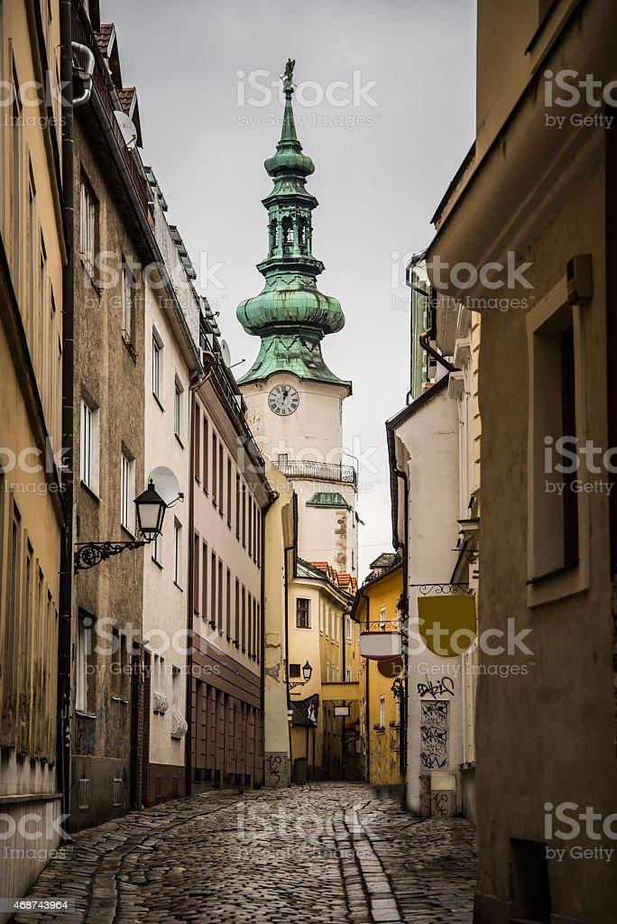 Narrow street in Bratislava stock photo