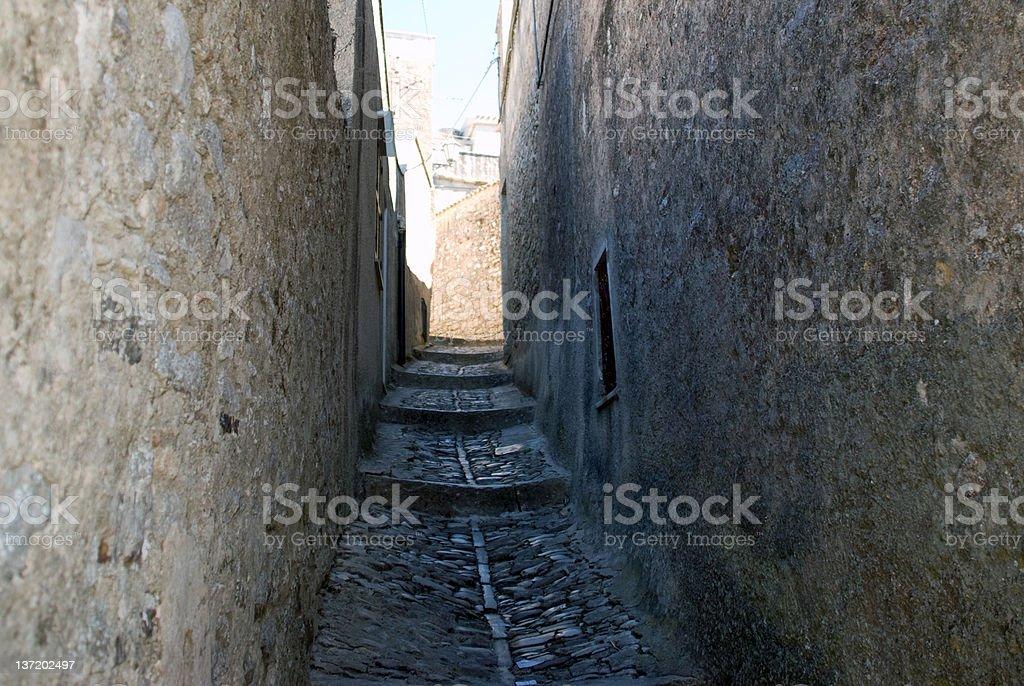 Narrow Street in Erice, Sicily stock photo