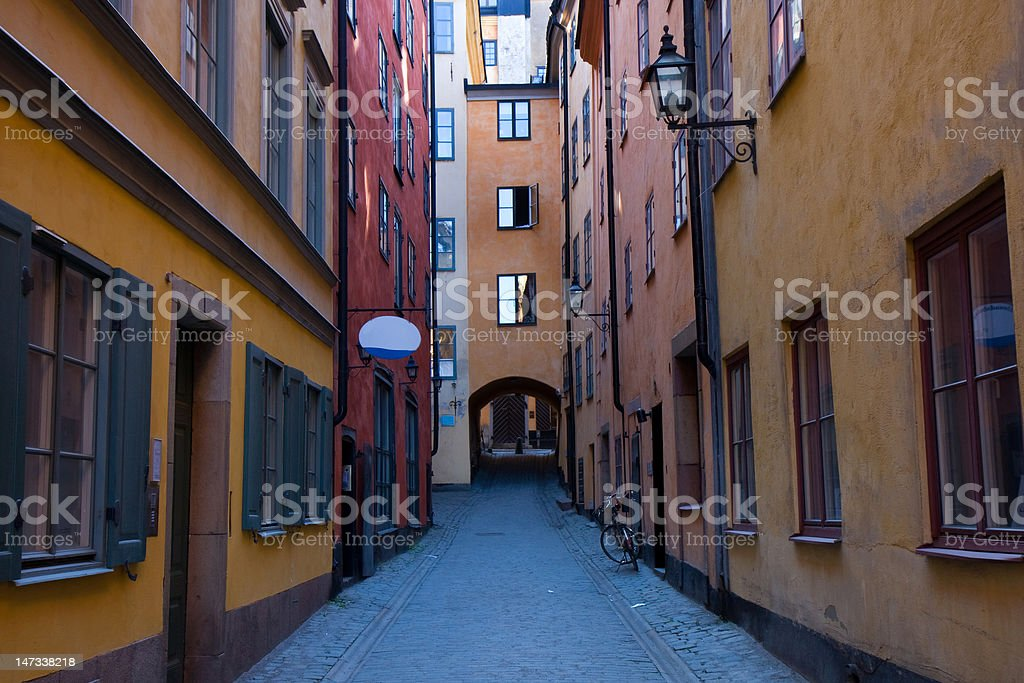 narrow street in Gamla Stan, Stockholm royalty-free stock photo
