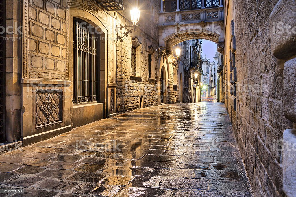 Narrow street in gothic quarter, Barcelona stock photo