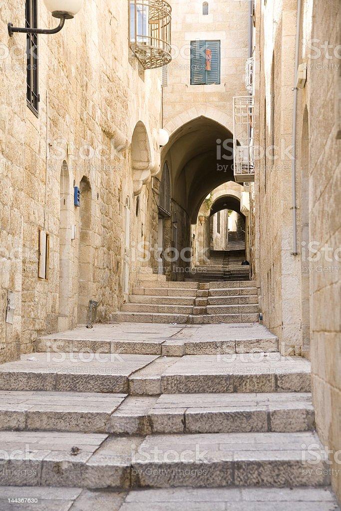 Narrow street in Jewish Quarter Jerusalem royalty-free stock photo