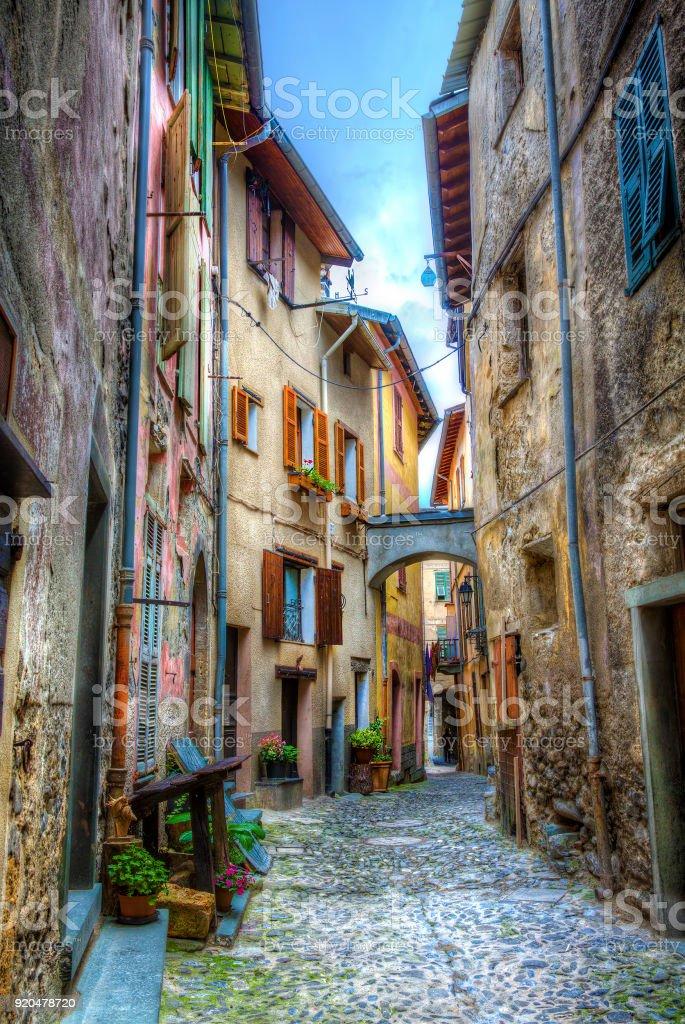 Narrow Street in La Brigue, Alpes-Maritimes, Provence, France stock photo