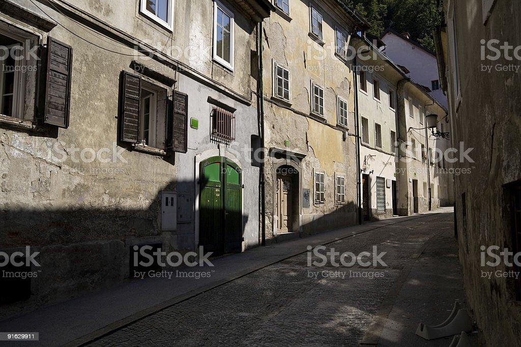 Narrow street in Ljubljana (Slovenia) royalty-free stock photo