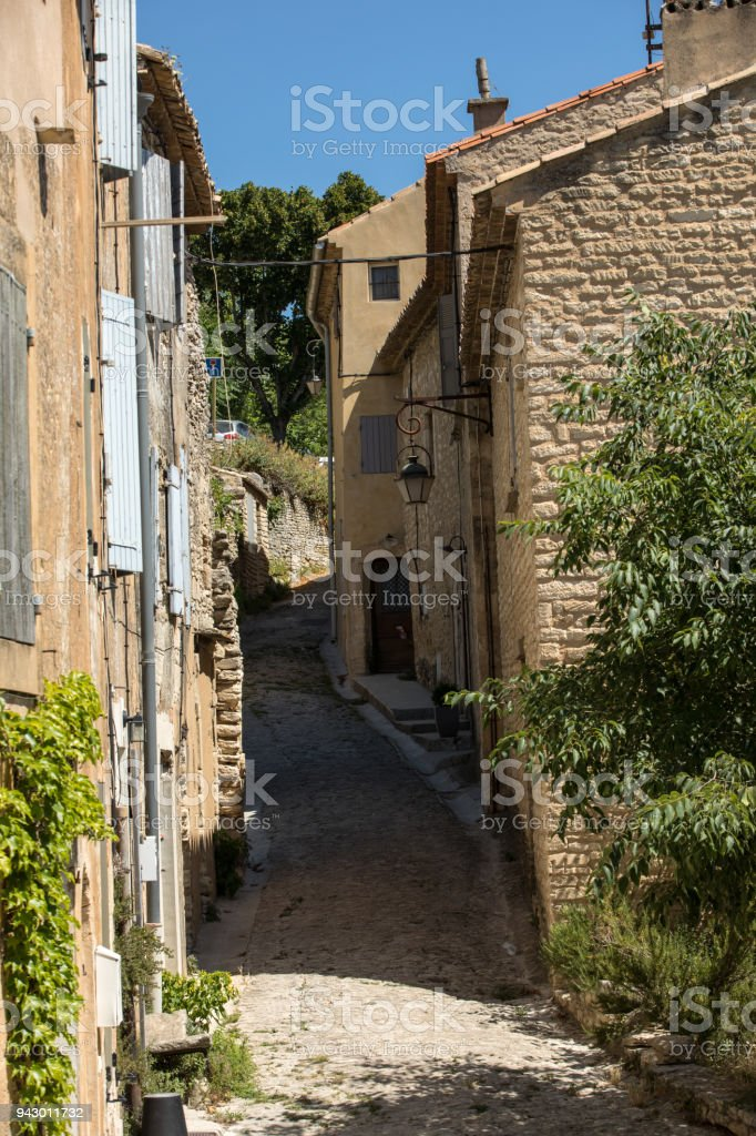 Narrow street in medieval town Gordes. Provence, France stock photo