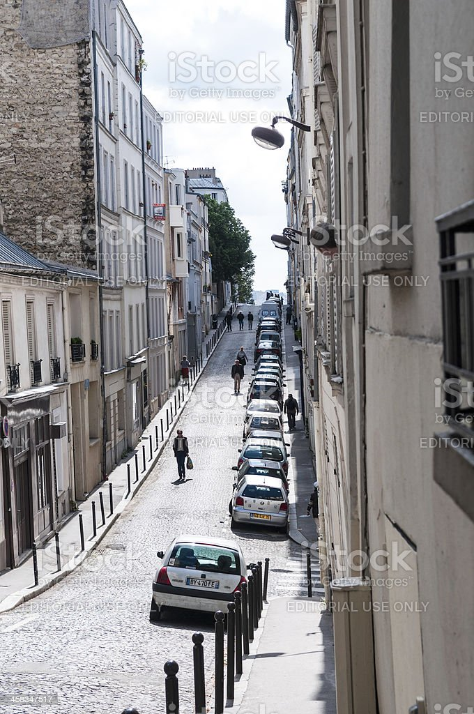 Narrow street in Montmartre distric, Paris, france royalty-free stock photo