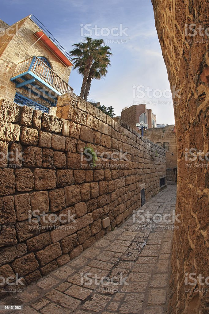 Narrow street in Old Yaffo royalty-free stock photo
