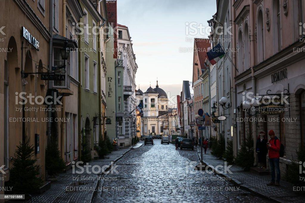 Narrow street in Tallinn old town stock photo