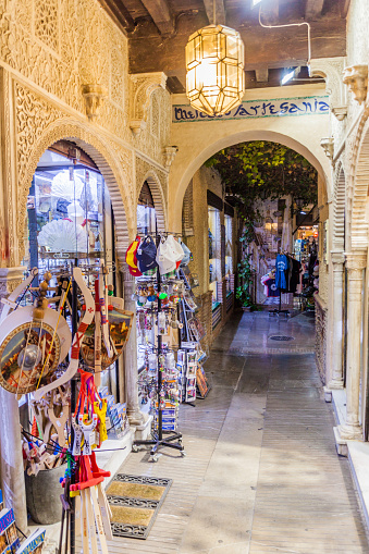 Granada, Spain - November 2, 2017: Narrow street in The Alcaiceria, Great Bazaar of Granada.