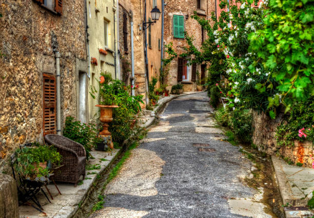 Narrow Street in the Medieval Village of Bargemon, Provence, France Narrow street in the medieval village of Bargemon, Provence, France var stock pictures, royalty-free photos & images