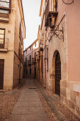 A narrow street in the old town of Zamora, Spain