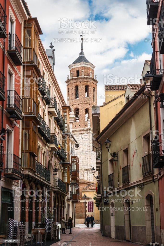 Narrow street in Valladolid city center stock photo
