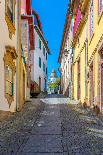 Narrow street leading to the Church of Mercy or Igreja da Misericórdia in viseu, Portugal