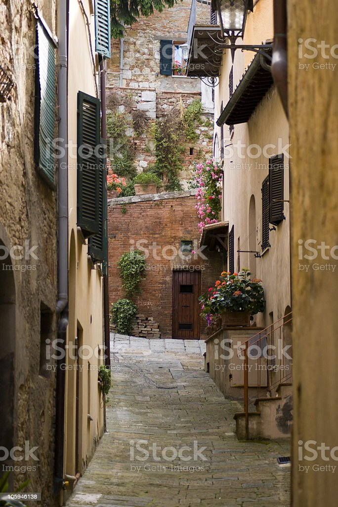 Narrow street, Montepulciano, tuscany, italy stock photo
