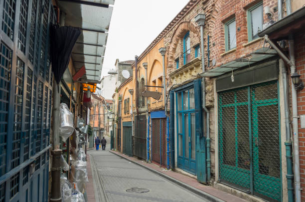 Narrow Street of Balat, Istanbul stock photo